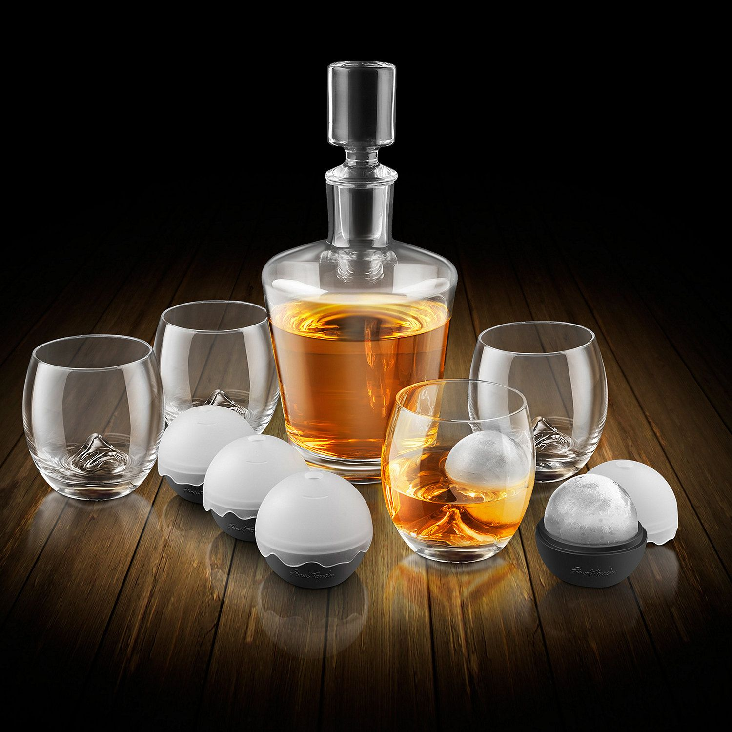 on the rock glass whiskey decanter set the rock the o. Black Bedroom Furniture Sets. Home Design Ideas
