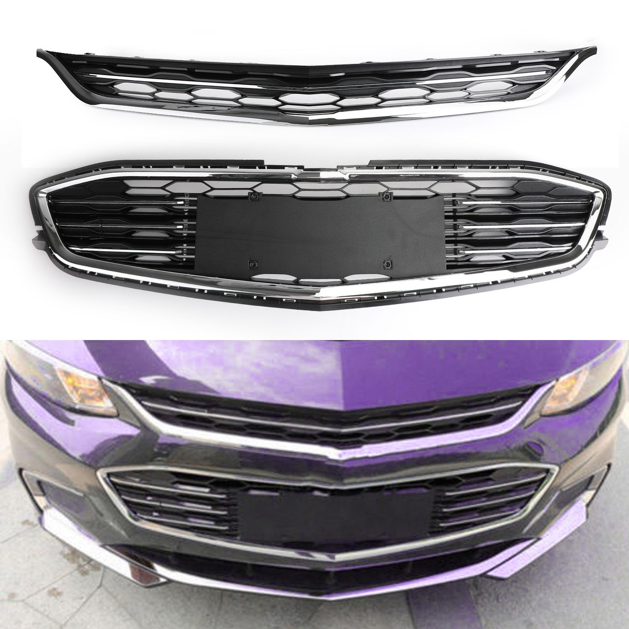 Mad Hornets Honeycomb Mesh Chrome Front Bumper Upper With