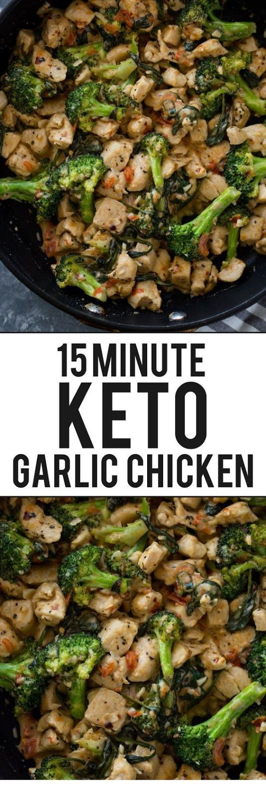 15 Minute Keto Garlic Chicken with Broccoli and Spinach #easydinnerrecipes