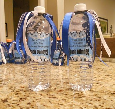 Cute volleyball team water bottles with team hair ribbons