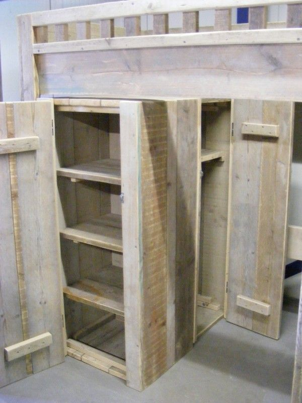 Hoogslaper bureau kledingkast steigerhout 1290300180ht half hoogslapers jorg s houten - Mezzanine jongen ...
