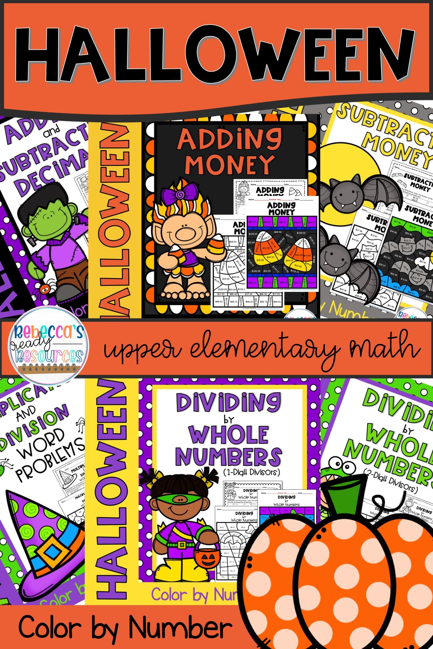 5th Grade Math Worksheets Halloween Color By Number