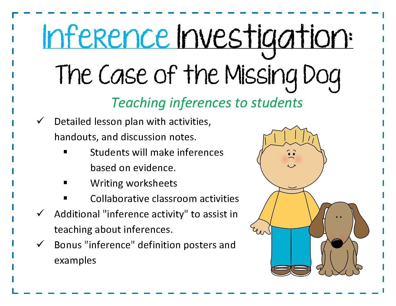 Workbooks inference worksheets high school : LESSON PLAN ON TEACHING INFERENCES Inference Investigation: The ...