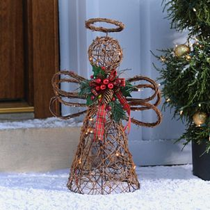 Angel Tree Topper, Christmas Angel Wreath, Front Door ... |Grapevine Angel Tree Topper