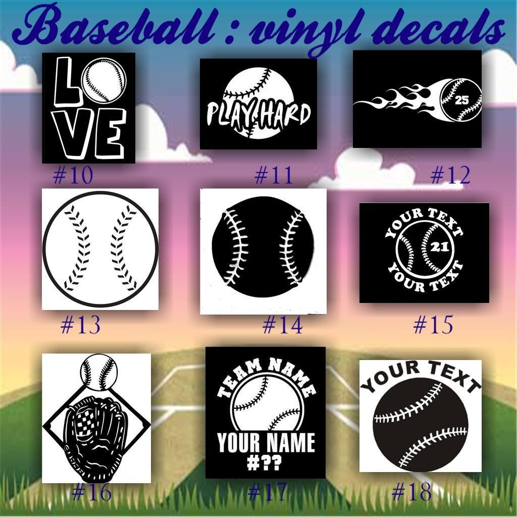 Baseball vinyl decals 10 18 vinyl sticker car window sticker custom vinyl decal personalized baseball sticker