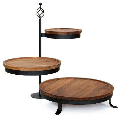 Amazon Com Mangoleaf 3 Tier Swivel Server Hardwood Patio Lawn Garden 32 84 Table Top Display Stand Tiered Server Rustic Table