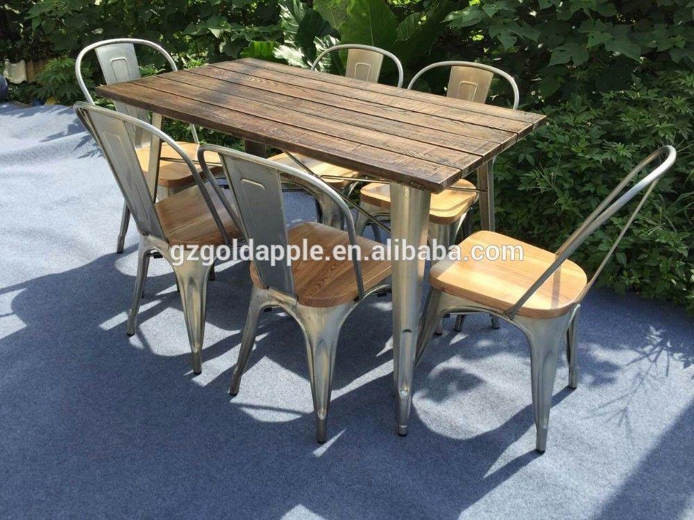 Outdoor Garden Restaurant Dining Tables Furniture Retro Wooden