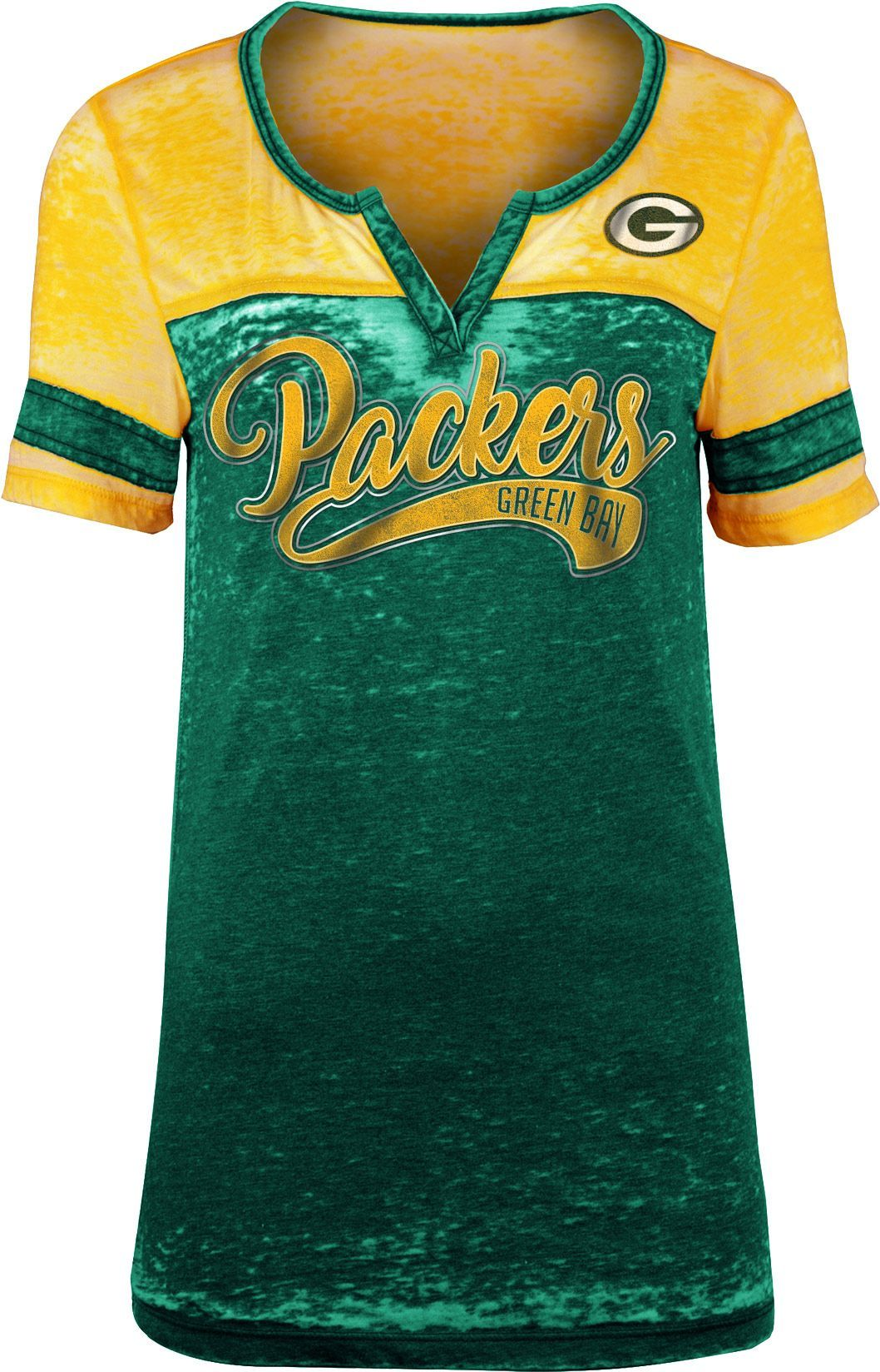 25b7dd15e NFL Team Apparel Women s Green Bay Packers Foil Burnout V-Neck T ...