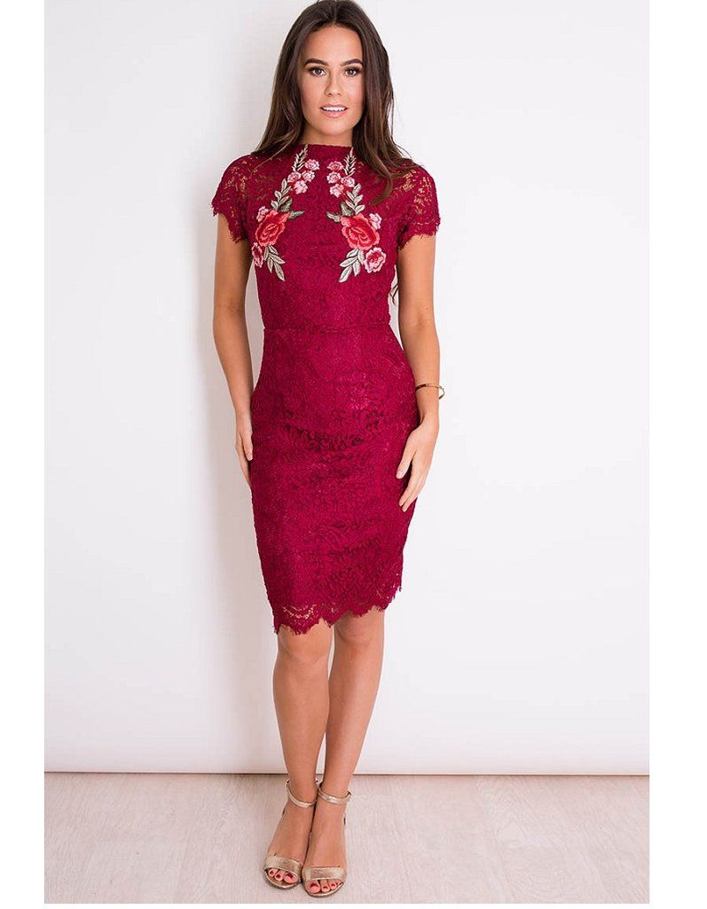 14a0f1dbc5 Zeina Berry Red Floral Lace Dress Featuring floral appliques and in a  pretty lace