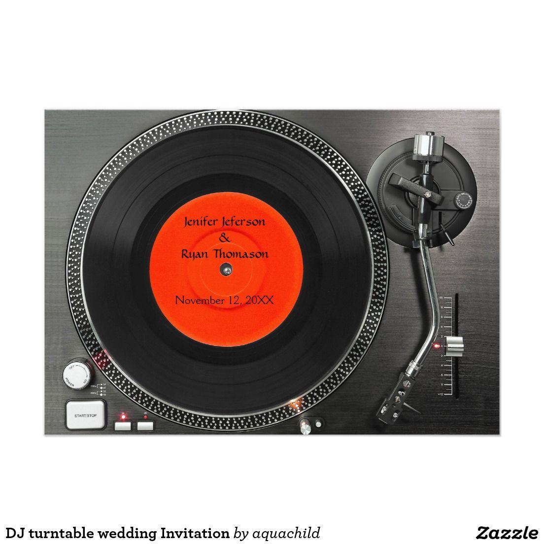 DJ turntable wedding Invitation   sci fi themed   Pinterest   Zazzle ...