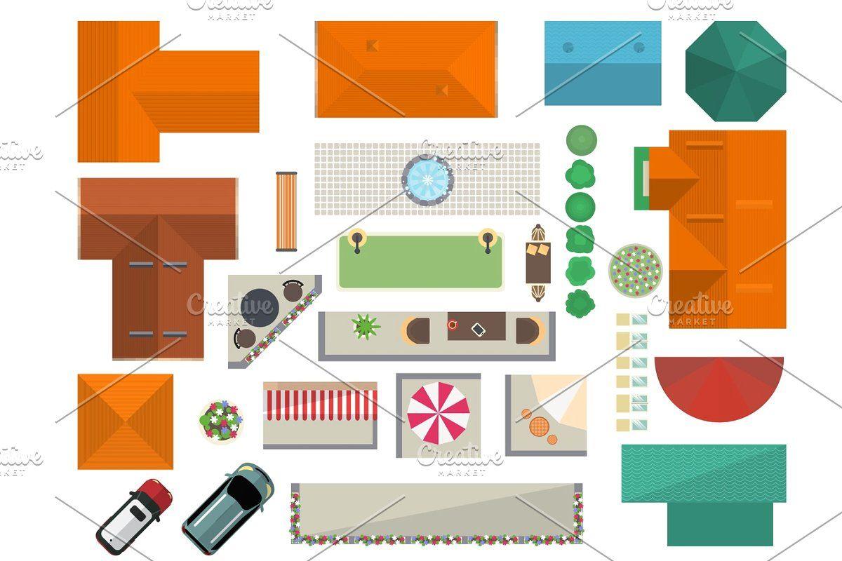 Top View Landscape Design Set Landscape Design Landscape House Roof