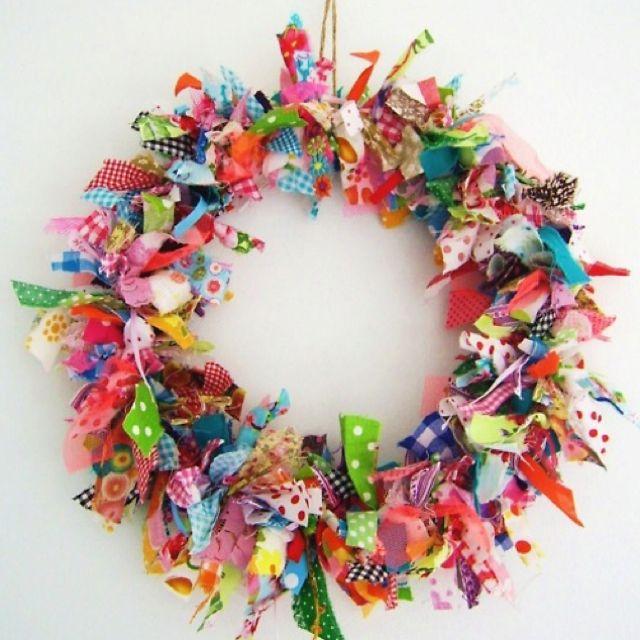 Blukatkraft Easy Diy Scrap Fabric Ribbon Wreath: Fabric Wreath, Scrap Fabric