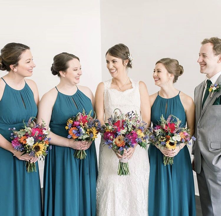 43195529dac How pretty are these bridesmaids dresses ! This deep teal is perfect for a fall  wedding!  jennietewellphotography  wedding  weddings  weddingphotography ...