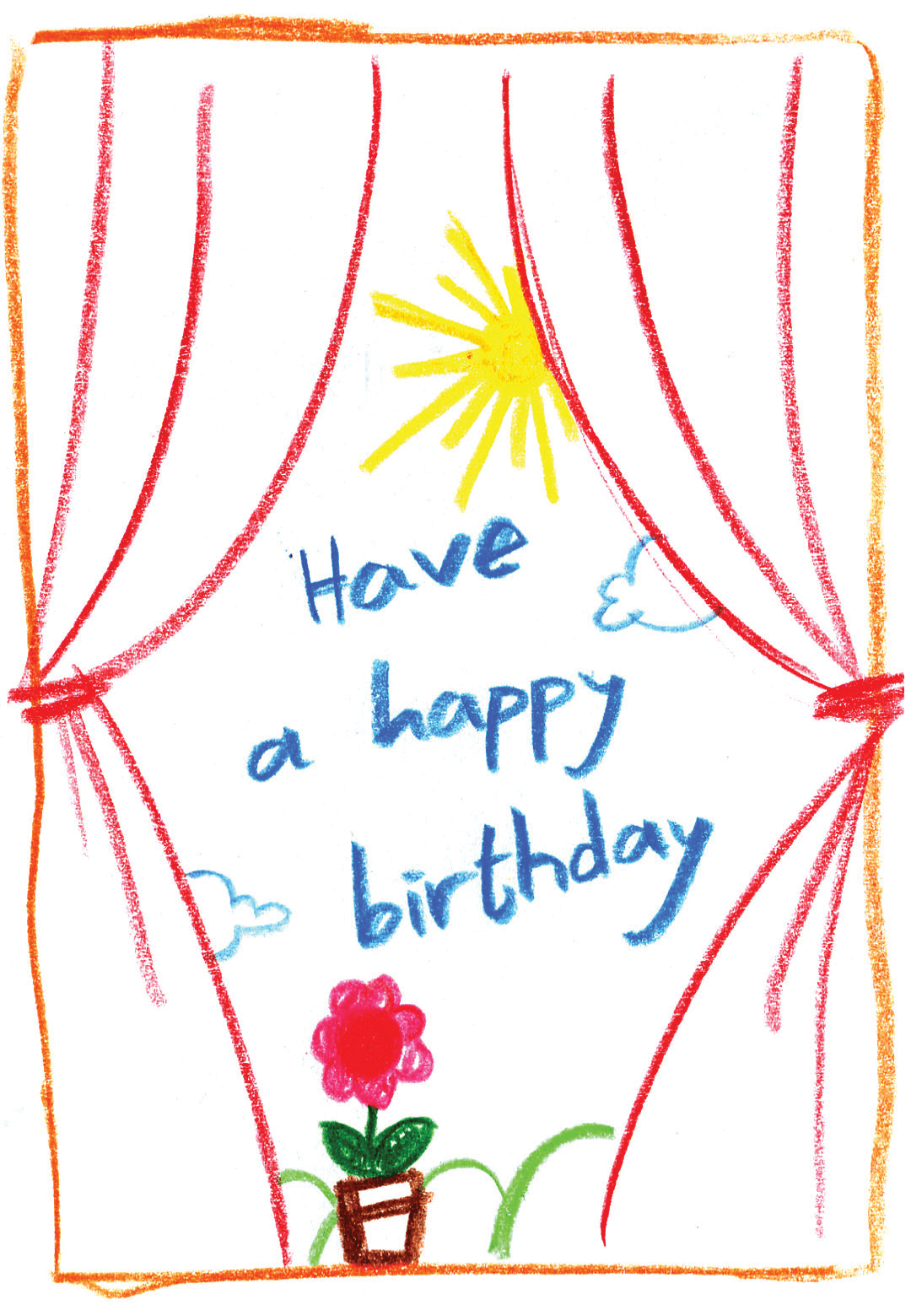 Child Drawing Free Printable Birthday Card Greetings Isl