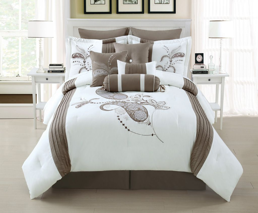 10 Piece Cal King Diore Taupe White Comforter Set