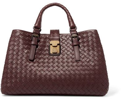 3e764fa23339 Bottega Veneta - Roma Medium Intrecciato Leather Tote - Burgundy ...
