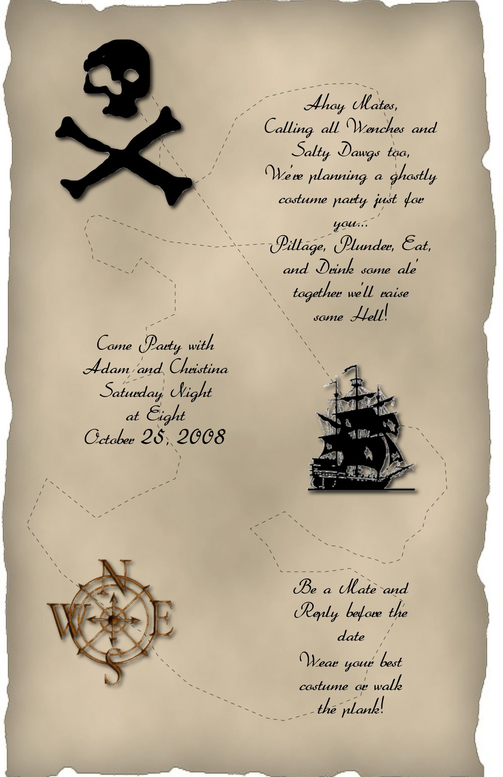 Halloween Invitation Wording Pirate Theme Halloween Invitation
