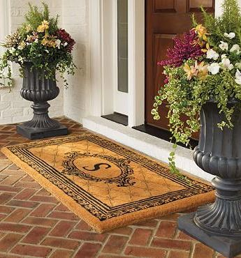 Estate Monogrammed Coco Door Mat Mediterranean home