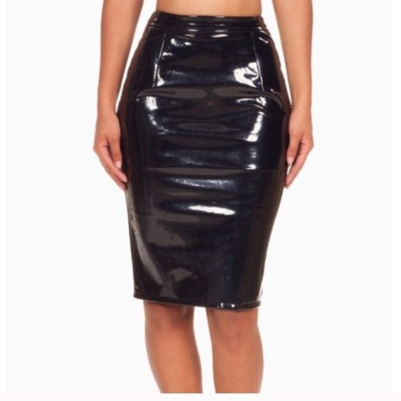 Nwt Patent Leather Midi Skirt Nwt naked wardrobe Naked wardrobe Skirts Midi