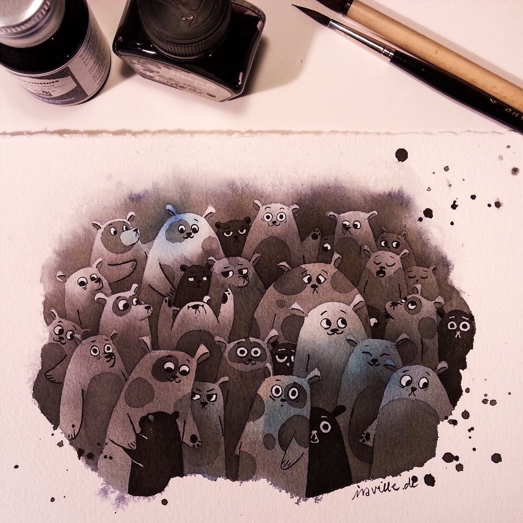 A bear family for inktober #10. And because so many asked me how I did the inktober cats I made a negative painting demo on my YouTube channel:  https://www.youtube.com/watch?v=D3cGnW2Y_3M   the bears don't turn out that nice like the cats but I think you can see how I did it.  #inktober #inktober2015 #inktober2go #bear #bears #bearfamily #art #artist #illustration #illustrator #ink #inkonpaper #negativepainting #experimenting by iraville