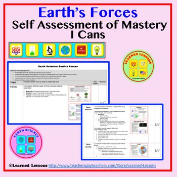 Earthu0027s Forces Student Self Assessment of Mastery I Cans Earth Science - student self assessment