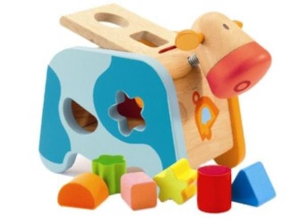 Djeco Maggie Cow Shape Sorter Activity Toys Baby Toys Toys