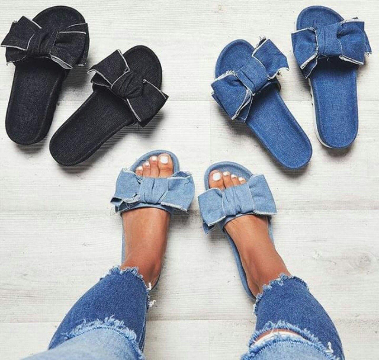 1b2b50d0f55 Denim slides | Fashion's My Passion in 2019 | Diy leather sandals ...