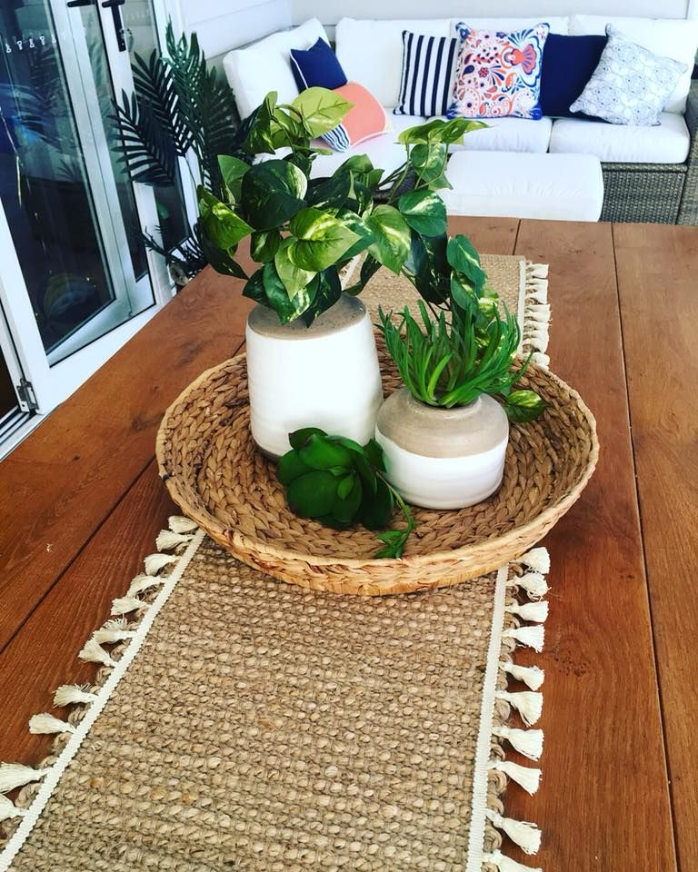 Craft Kmart Jute Table Runner And Tassles From Spotlight Glued With Fabric Glue Table Runners Hacks Diy Crafts