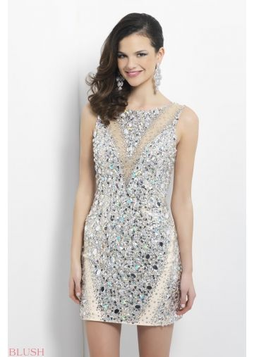 Column Silm Sleeveless with Beaded Jewels Mini Length Cocktail Dress / Homecoming Dress