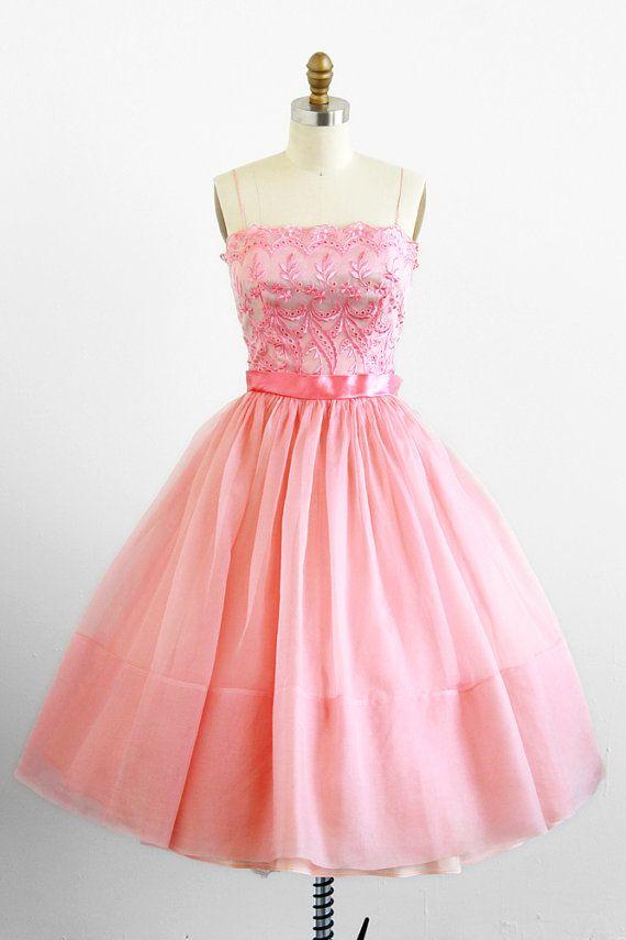 vintage 1950s dress / 50s dress / Pink Organza Prom Cupcake Dress ...