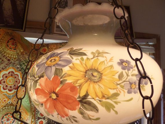 Vintage Hanging chain lamp White glass with painted flowers