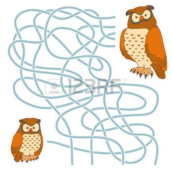 Game for children: Maze game (owl family) photo