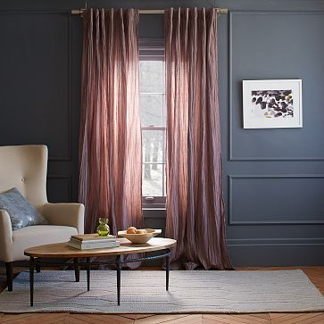 Stella Curtain Sugar Plum Westelm Love The Color Of Curtains With The Wall Color Pink Curtains Home Decor Curtains Living Room