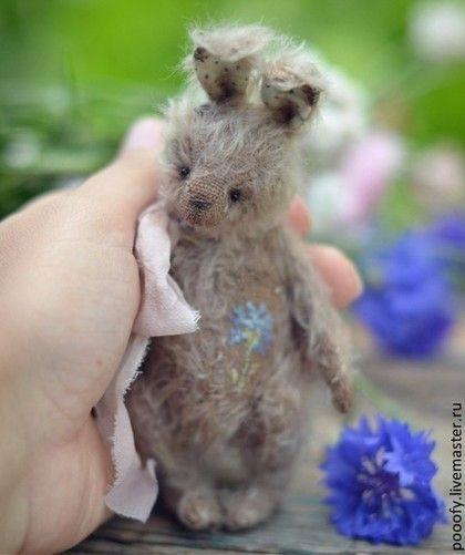 """Кролик """"Василёк"""" (11см) - кролик тедди,светло-коричневый,кролик,зая,зайка"""