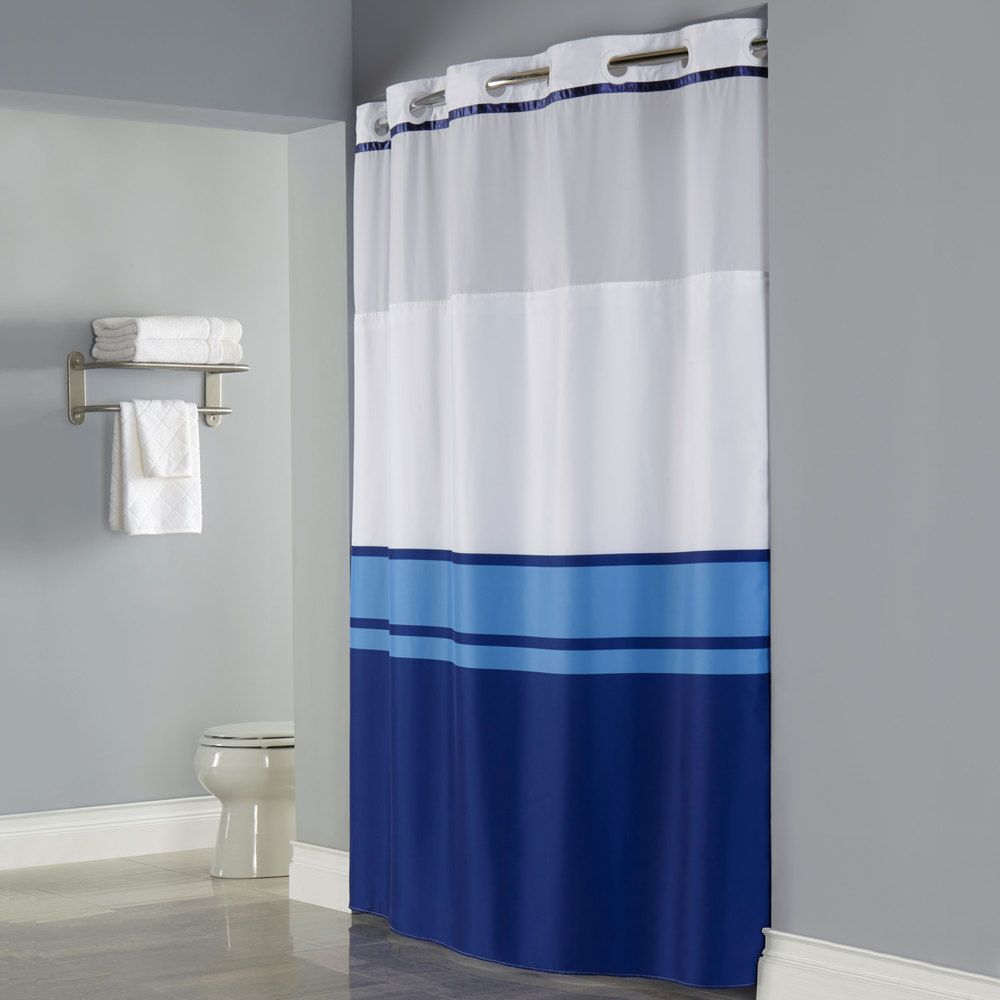 Perfect For Your Beachside Hotel Hookless Blue Print Brooks Shower Curtain With Matching Flat Flex On Rings Its A Snap Polyester Liner Magnets