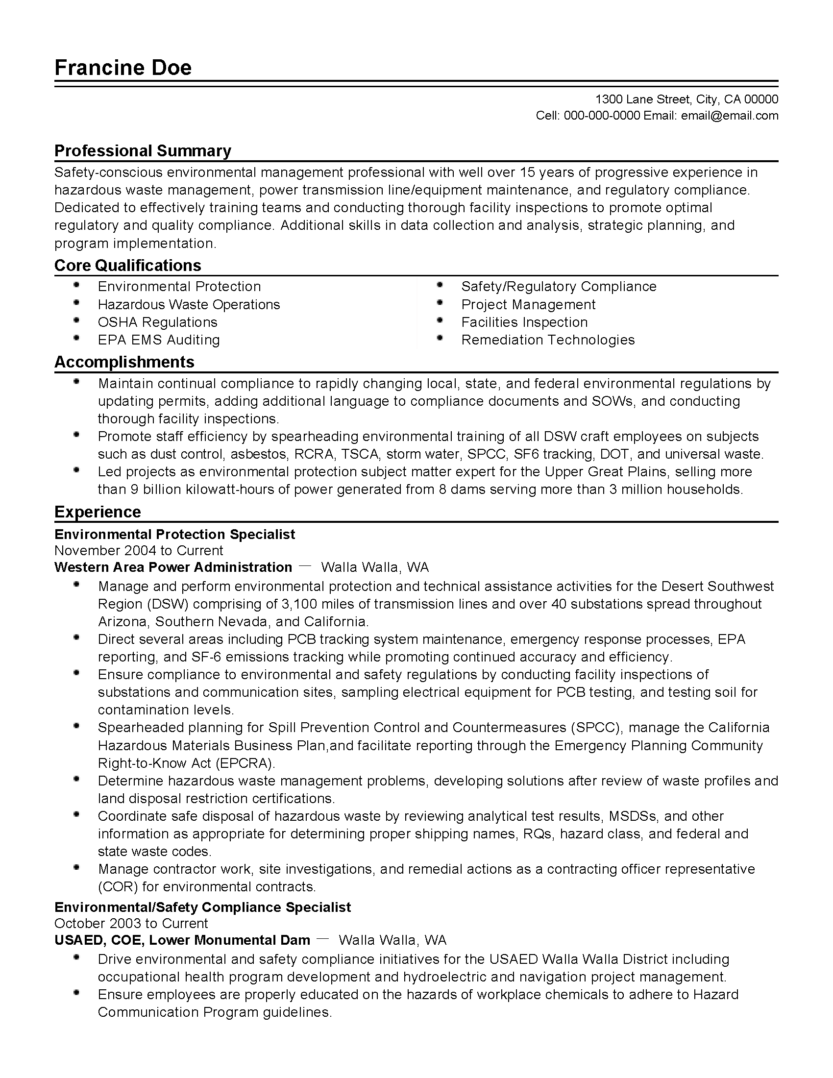 Is Your Resume As Powerful As It Should Be Use This Environmental Protection Specialist Resume Resume Writing Services Cover Letter For Resume Resume Template