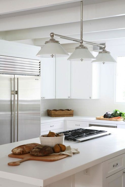 Crisp, Clean White Kitchen Design With White Box Beams, Pendant, White  Shaker Kitchen Cabinets U0026 Kitchen Island, White Quartz Countertops And  Range In ...