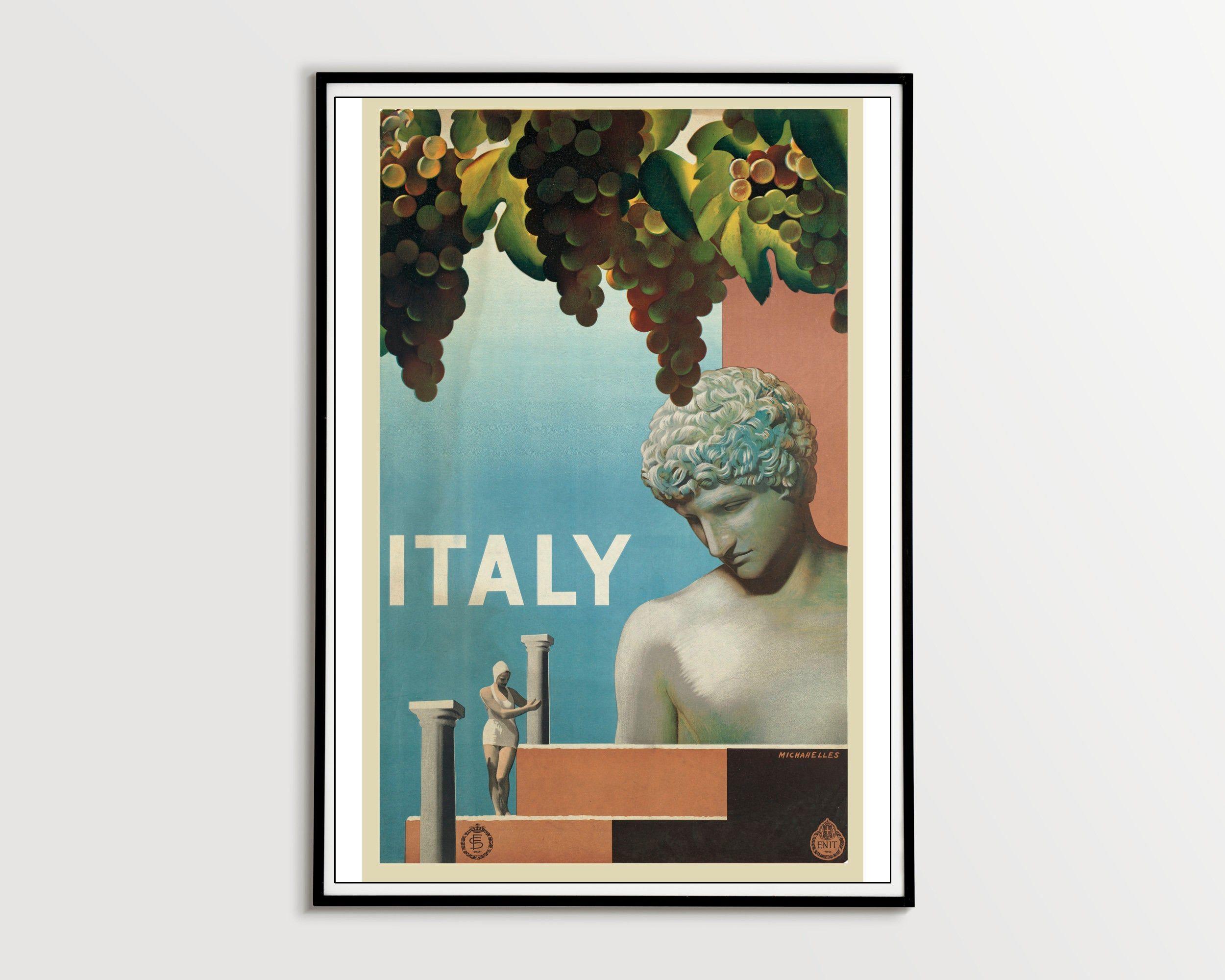 A4A3 FramedUnframed Grape Vintage Lithograph Fine Art Print
