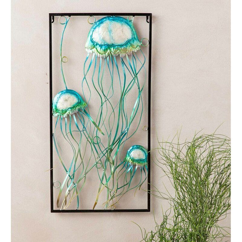 Wind Weather Handcrafted Metal Jellyfish Wall Decor Wayfair Jellyfish Wall Art Outdoor Wall Decor Metal Wall Art Decor