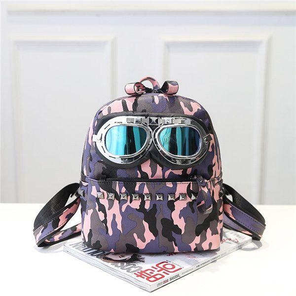 Women School Cute Bag Glass Creative Backpack Shoulder Bags Rivet Double Zipper Bags