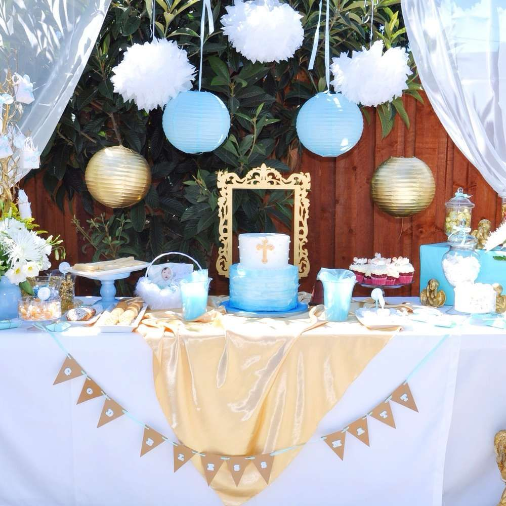 Birthday table decorations boy - Angel Themed Baptism Baptism Party Ideas