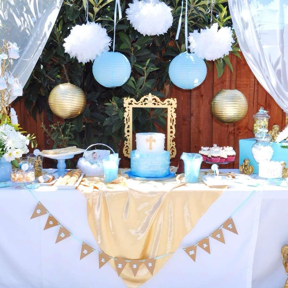 lovely blue baptism dessert