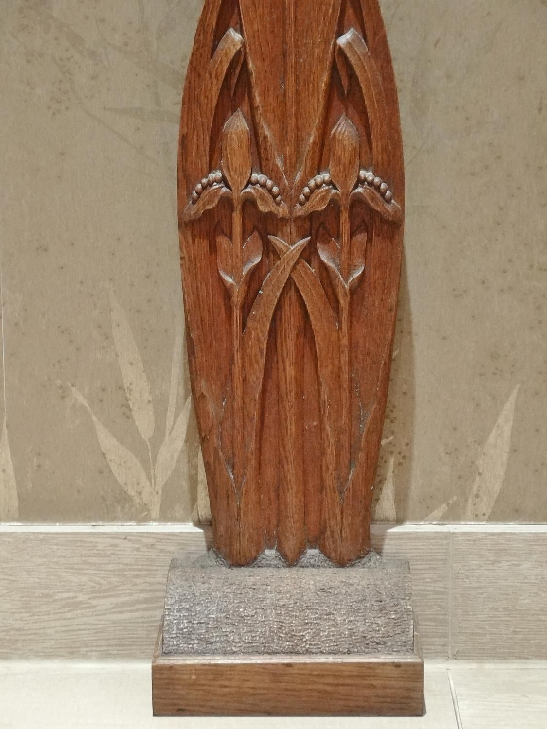 Arts crafts carved oak doorstop in other styles other