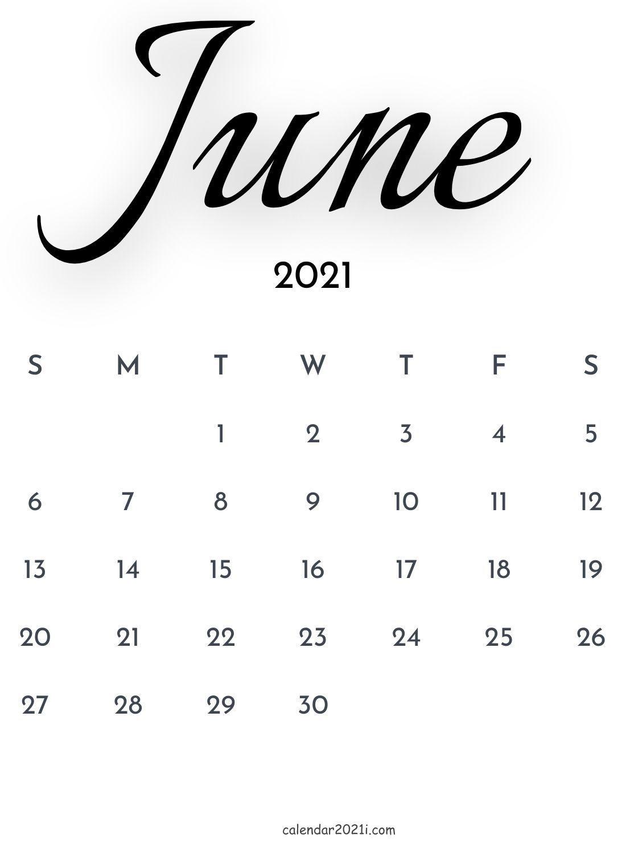 June 2021 Calligraphy Calendar printable template free