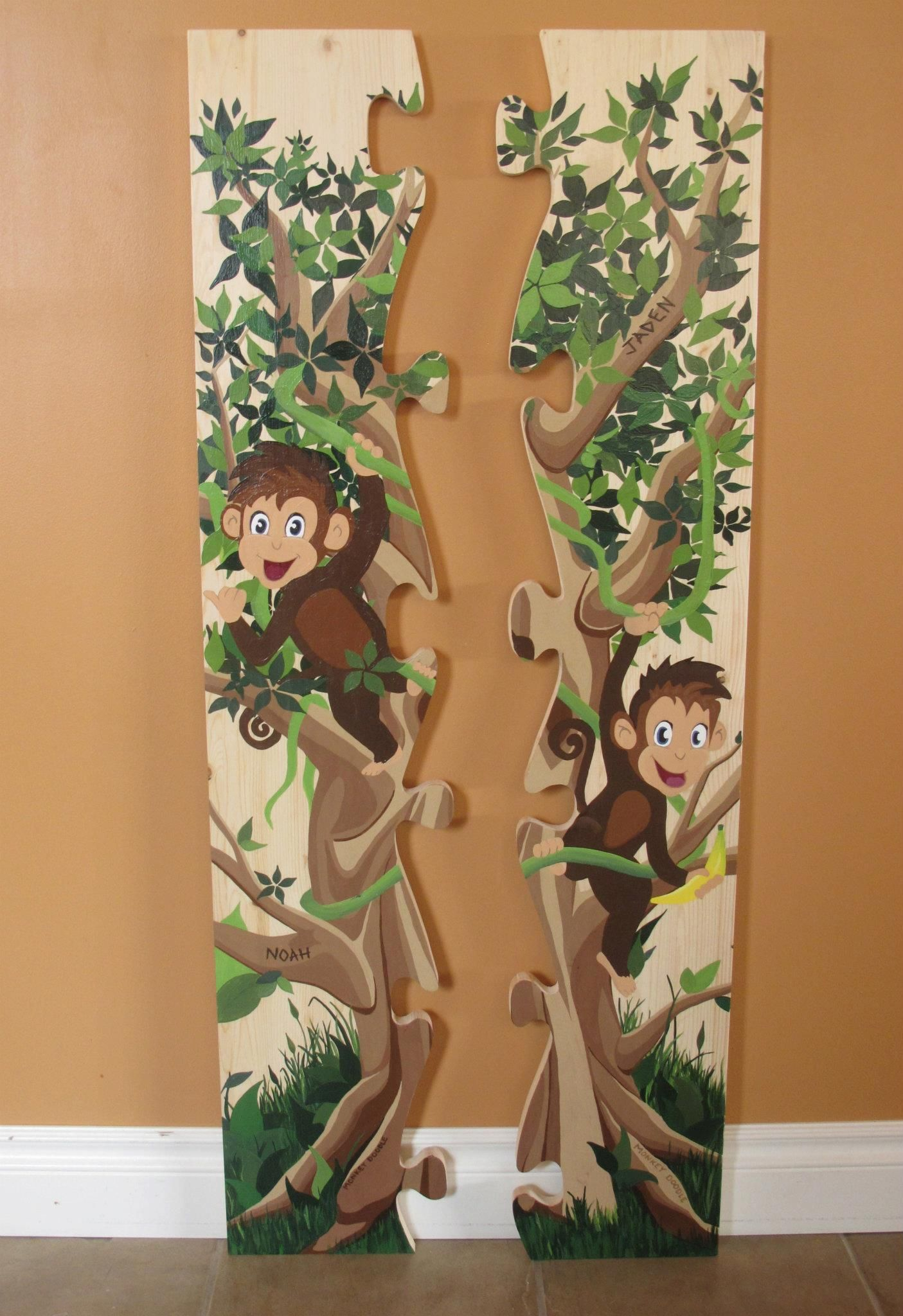 Growth chart tree hand painted fabric banner personalized in stock hand painted custom personalized wooden growth chart by daisy may decor monkey geenschuldenfo Choice Image