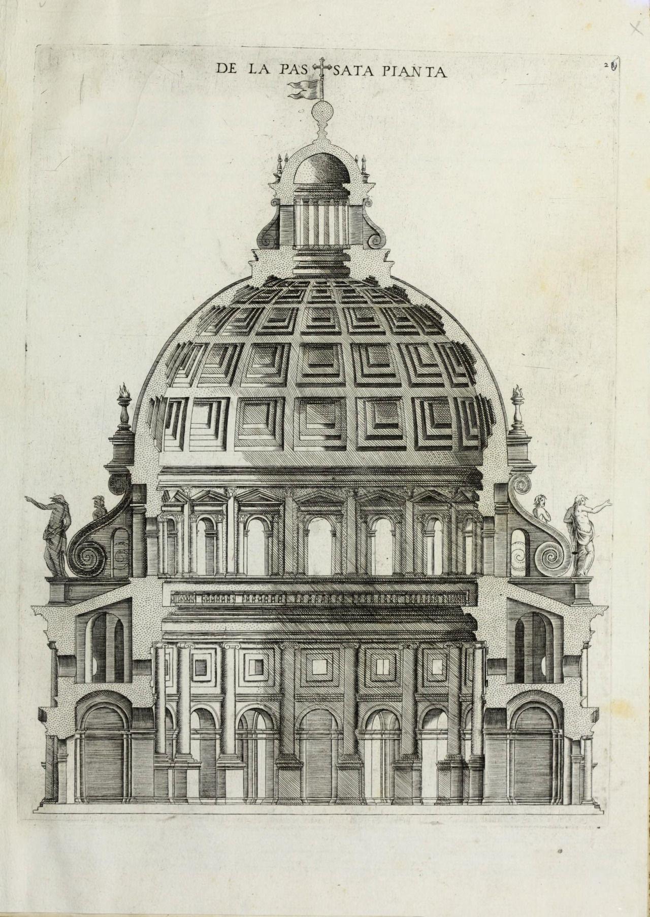 Section Of A Temple Rome Planos De Arquitectura Edificios Antiguos Dibujos De Edificios