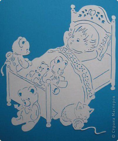 Картина панно рисунок Вырезание Перед сном Бумага фото 1
