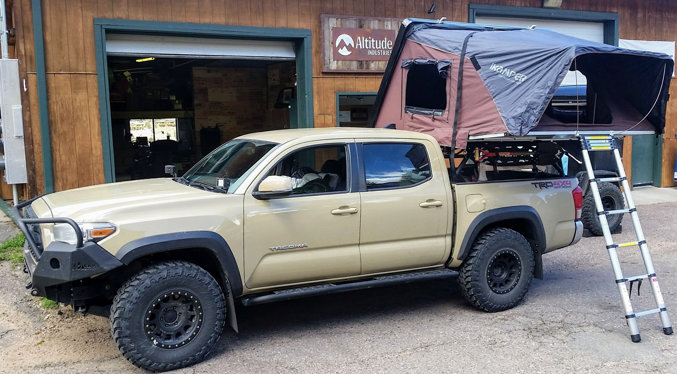 Tacoma Double Cab With Bedrack And Ikamper Skycamp Rooftop Tent Roof Top Tent Overland Gear Tacoma Truck