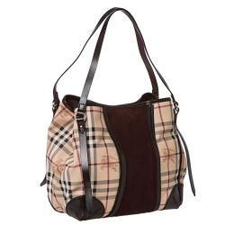 9c57f45d6107 Burberry Small Haymarket Check  Plum Suede Tote Bag