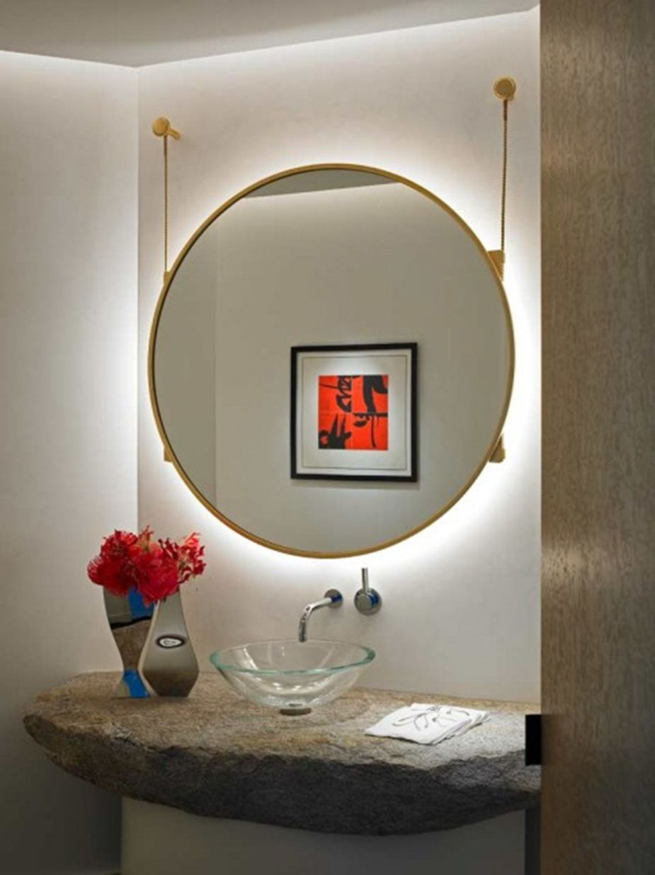 Unique Powder Room Design With Huge Hanging Round Mirror Backlight Effect Over Gl Washbowl And